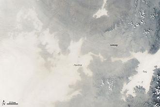 2013 Northeastern China smog - Image: Northeast China smog 2013 10 21 detail 2013294.0350