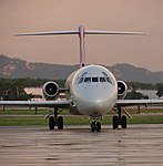 Northwest Airlines Douglas DC-9 at La Crosse Regional Airport.jpg