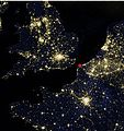 Northwestern Europe at night by VIIRS cropped marking Calais.jpg