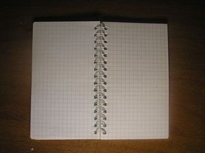 Notebook on the clear page.