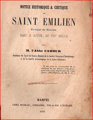 Émilien of Nantes - Image: Notice historique et critique sur saint Emilien, évêque de Nantes... 1859