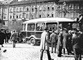 Nyugati (Berlini) tér lipótvárosi házai, előtérben a Budapest-Újpesti Személyszállítási Rt. (BUSZ Rt.) autóbusza. Fortepan 15662.jpg