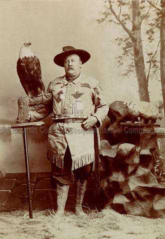 Old Abe - Old Abe and George Gillies, who was the last eagle caretaker.