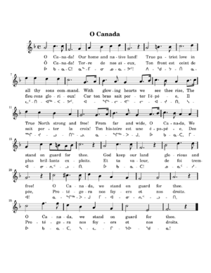 English: PNG image of lyrics to O Canada. See ...