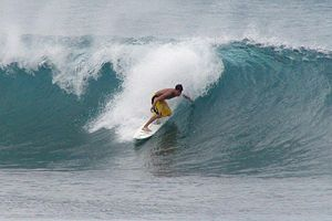 Surfing a break in Oahu