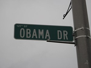 Calumet Park, Illinois - Obama Drive street sign