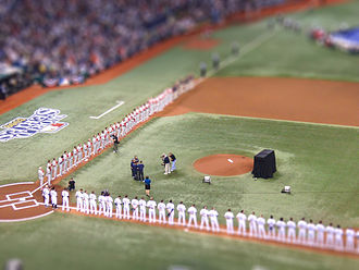 2008 World Series - The teams on the field before Game 1