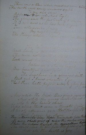 Ode: Intimations of Immortality - 1804 holograph copy of Stanza I–III by Mary Wordsworth