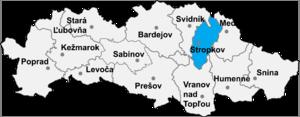 Miková - Location of Stropkov District in the Prešov Region.