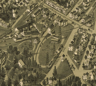 Cameron Stadium - Map of Washington, showing the Old Fairgrounds in 1897.  Note the oil wells.