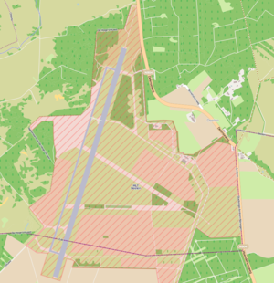 Deelen Air Base - Map of Deelen, the airbase is the area under the red crossmarks.