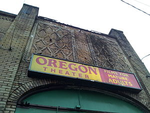 Oregon Theatre - Detail of the theater's architecture and signage, 2014