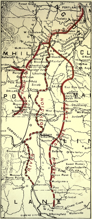 Portland and Willamette Valley Railway - Narrow-gauge rail in the Willamette Valley in 1919