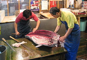 Maguro bōchō - A maguro bōchō in use at the Tsukiji fish market in Tokyo