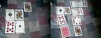 Osmosis (solitaire) - A game of Osmosis: (left) The layout at the start of the game, (right) a game at progress.