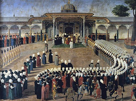 Selim III receiving dignitaries during an audience at the Gate of Felicity, Topkapi Palace Ottoman Sultan Selim III (1789).jpg