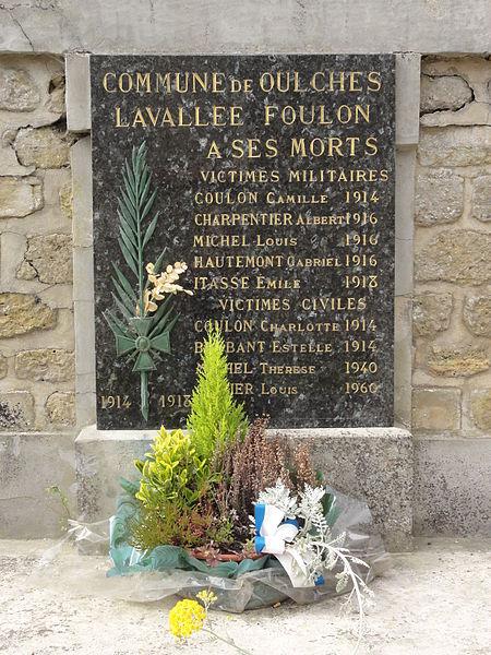 Oulches-la-Vallée-Foulon (Aisne) monument aux morts