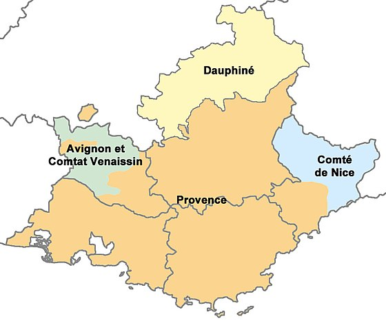 The historical province of Provence (orange) within the modern region of Provence-Alpes-Cote d'Azur in southeast France. PACA.jpg