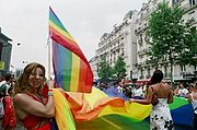 Front line of PASTT at Gay Pride at Paris in France, June 2005
