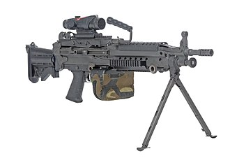 Bipod - Most squad automatic weapons, such as this M249, have a bipod to increase accuracy in full-automatic mode.