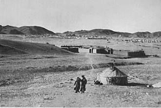 "Actions in Inner Mongolia (1933–36) - View of the summer camp of the ""capital"" Bǎilíngmiào (百靈廟, W.-G. Pai-ling-miao, Mongolian Bat Chaalga or Bathahalak) 1934."