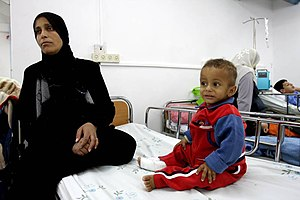 Barzilai Medical Center - Palestinian and Israeli families find a shelter in Barzilai hospital during shelling from Grad rockets from the Gaza Strip.