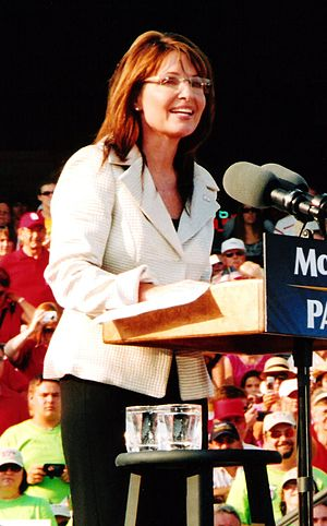 This is a picture of Sarah Palin speaking at a...