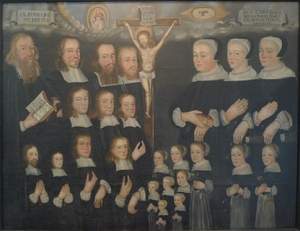 Johannes Palmberg - Family portrait in Tuna church, Sweden, showing Palmbergs siblings, mother and father