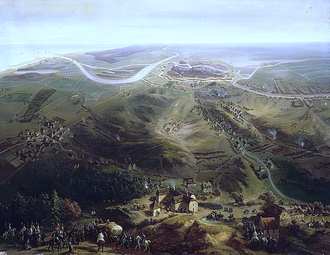 Siege of Danzig (1807) - Image: Panoramic view of the Siege of Gdańsk by French forces in 1807