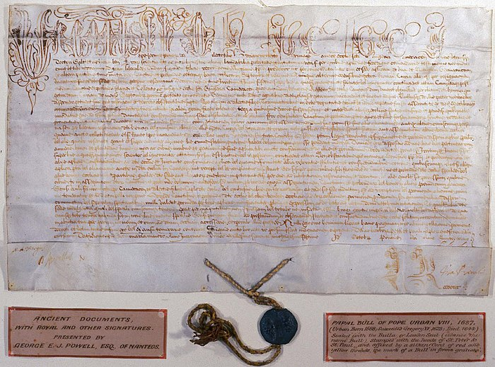 Papal bull of Pope Urban VIII, 1637, sealed with a lead bulla Papal.bull.JPG