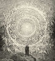 Dante and Beatrice gaze upon the highest Heaven; from Gustave Dor�'s illustrations to the Divine Comedy Paradiso Canto 31