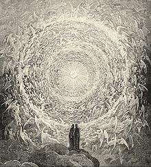 Engraving showing two small silhouettes standing before a tunnel of innumerably manifold circling angels leading to a bright, beautiful light at the end.