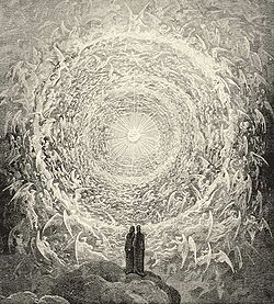 Dante and Beatrice gaze upon the highest Heaven; from Gustave Doré's illustrations for the Divine Comedy, Paradiso, Canto 31
