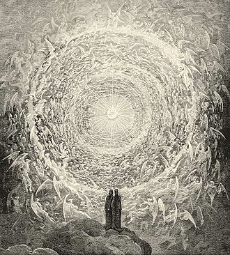 Celestial spheres - Dante and Beatrice gaze upon the highest Heaven; from Gustave Doré's illustrations to the Divine Comedy, Paradiso Canto 28, lines 16–39
