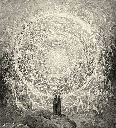 Dante and Beatrice see God as a point of light surrounded by angels; from Gustave Dore's illustrations for the Divine Comedy Paradiso Canto 31.jpg