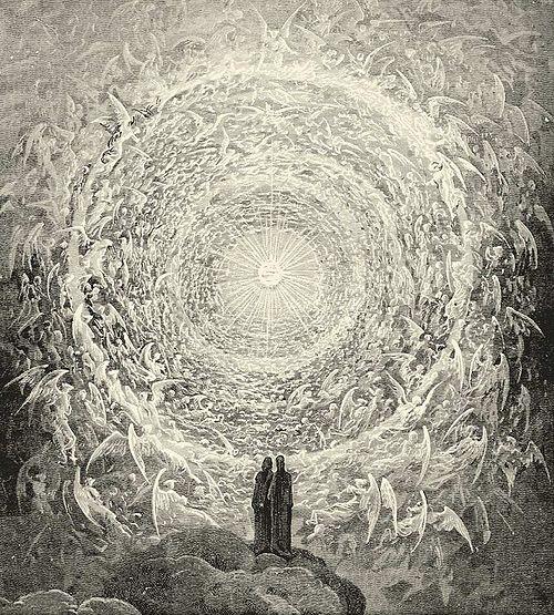 ギュスターヴ・ドレが描いたダンテのパラディソから、神の住居を一周する天使の聖歌隊