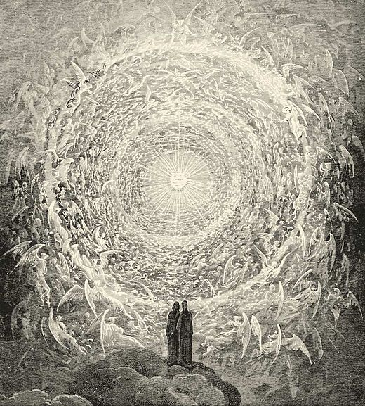 Dante Alighieri's description of Heaven in his Paradiso incorporates Pythagorean numerology. Paradiso Canto 31.jpg