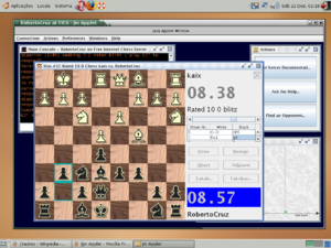 Free Internet Chess Server - A chess game on FICS using an interface named Jin.