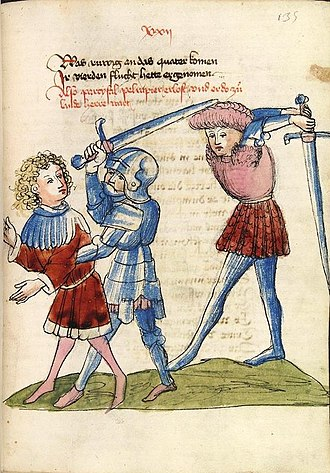Longsword - 1440s illustration of one- and two-handed use of the longsword. Note the sword being used one-handed is drawn shorter and may also be intended as a large knightly sword (CPG 339 fol. 135r).