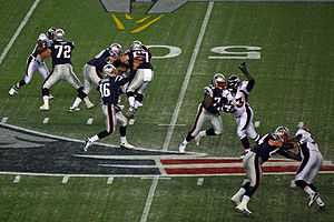 2008 New England Patriots season - Cassel throws a pass against the Broncos.
