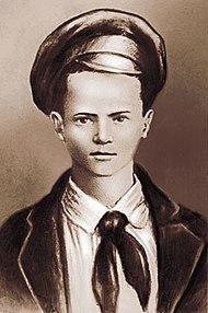 Портрет Павлика Морозова, созданный на основе единственной известной фотографии, на которой он был запечатлён