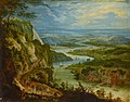 Peeter Gijsels - Rocky river valley with a village with a church.jpg