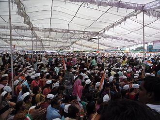 Anna Hazare - People wear I AM ANNA topi Gathered at Ramlila maidan on Anna Hazare's Fast