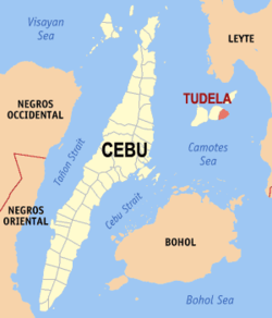 Map of Cebu Province with Tudela highlighted