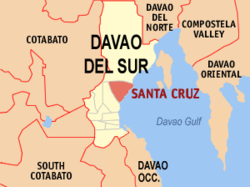 Map of Davao del Sur with Santa Cruz highlighted