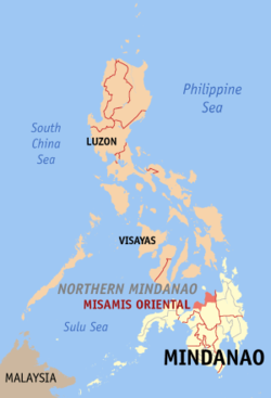 Map of the Philippines with Misamis Oriental highlighted