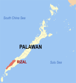 Map of Palawan with Rizal highlighted