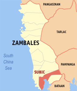 Map of Zambales with Subic highlighted
