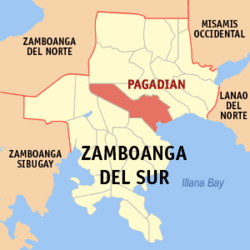 Map of Zamboanga del Sur showing the location of Pagadian City.