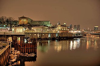 Fairmount Water Works - A view at night, also showing the Philadelphia Museum of Art in the background